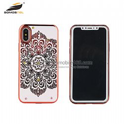 Durable electrochapado TPU + PC funda rabbit mandala con piedras