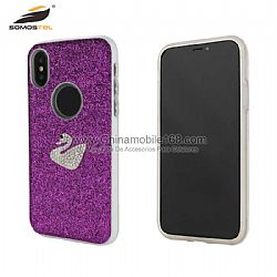 2019 newest design glitter PC+TPU with diamond hybrid protector case