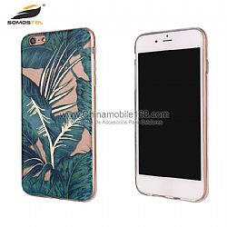 Dual-side printed IMD electroplated painted green leaves and flower protector case