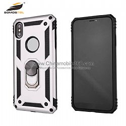 Leather oil TPU+PC hybrid phone protector with magnetic iron sheet