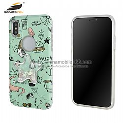 TPU+PC hybrid phone cases with 3D relief graphic and glitter quicksand decoration