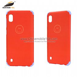 Anti-fingerprint dual layer protective case cover with smile face design