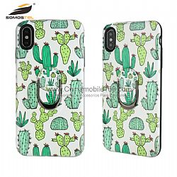 Colorful drawing TPU+PC combo case cover with finger ring kickstand