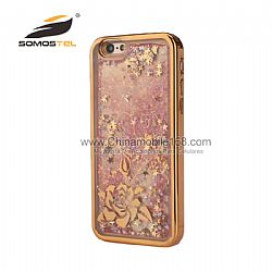Lujo Ultra Thin Glitter Liquid Quicksand TPU Teléfono de Funda para el iphone 6s  plus