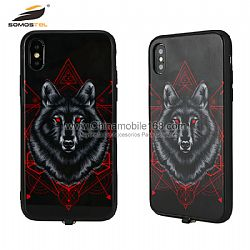 For iphone 8 plus TPU + PC + Glass Case With Light