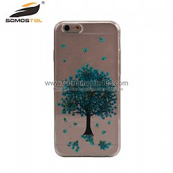 Green tree real pressed flowers phone case