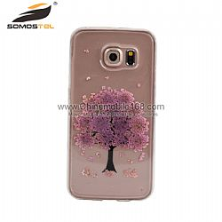 Tree real pressed flowers phone case for Samsung galaxy S6 edge