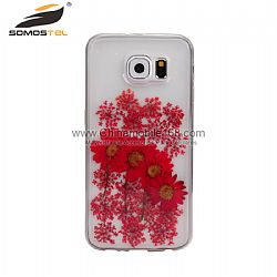 Hot sale red flower pressed phone case supplier