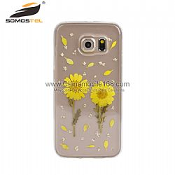 Hot sale yellow sunflower pressed phone case supplier