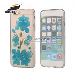 Real Flower Dried Pressed Sunflower Cherry Margarita TPU Cover Case for iPhone 6S plus