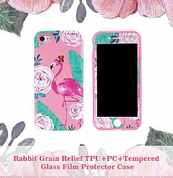 Rabbit grain relief TPU+PC+tempered glass flim protector case for 6P/7P/8P/X