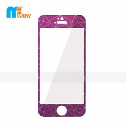 Luxury Purple 3D Diamond Rhomb Design Tempered Glass Screen Protector Kit for iPhone 5s