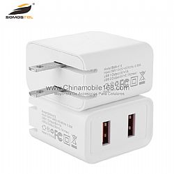 SMS-A77 foldable travel charger with dual USB port