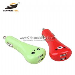 Smiley Face Dual USB LED Car Charger