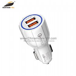 Good quality dual USB input QC3.0 car charger with LED
