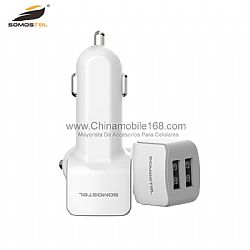 Standard dual USB car travel adapter with consice design