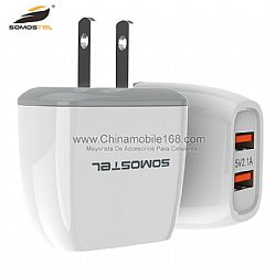 Wholesale 2.1A double USB travel adapter with data cable