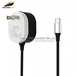 Cargador de pared de color doble recubierto de goma universal con cable usb