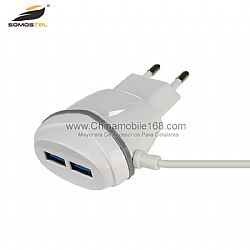 Wholesale double usb fast charging travel charger with cable