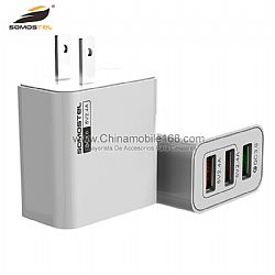 Portable triple usb ports fast charging PC material wall charger