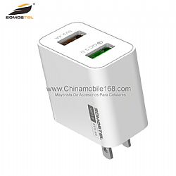 Simple compact QC3.0 dual usb ports PC travel adapter charger