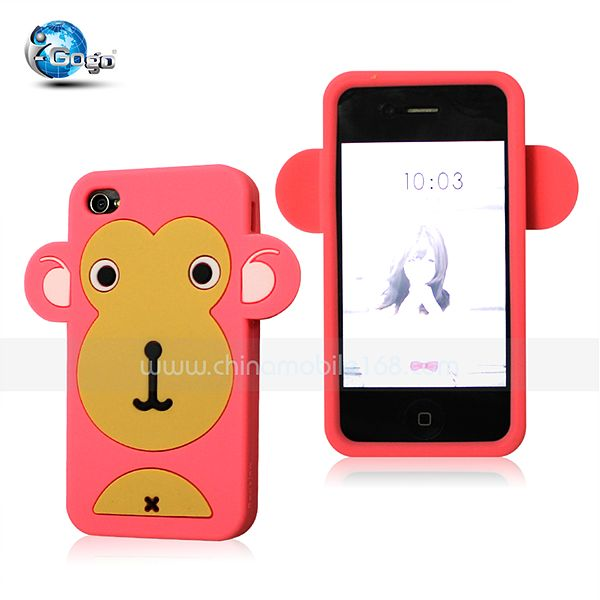 Cute monkey silicon case for iphone 4/4s