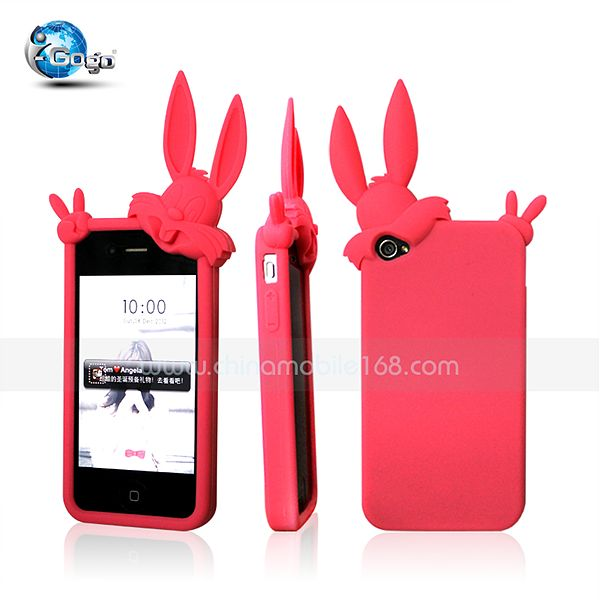 Cute animal silicon case for iphone 4/4s