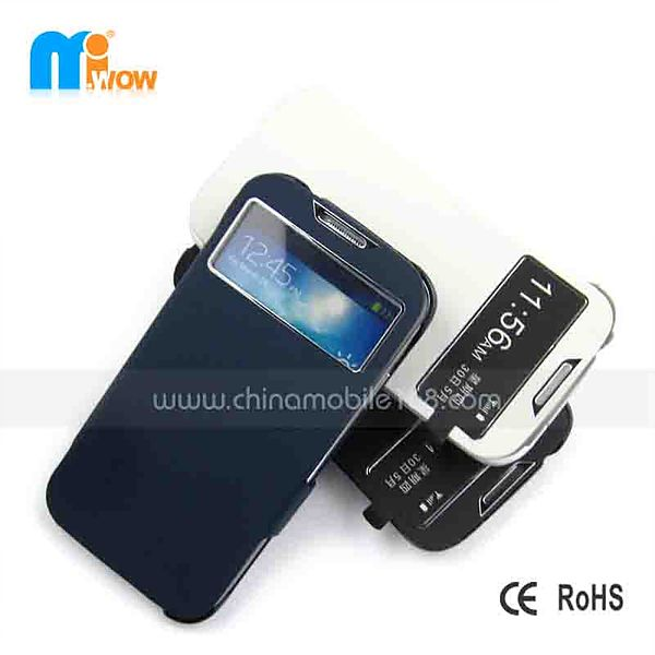 ABS+PU Flip Cover with Window for SamsungS4 I9500