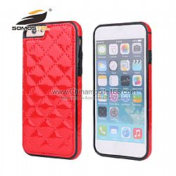 Luxury Grid Pattern PU Leather Complete protection Phone Cover Case  For iphone