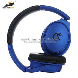 Rubberized wireless headphone over ear noise cancelling stereo wireless headset with microphone