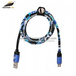 Hot selling blue metal interface micro charging cord for iphone