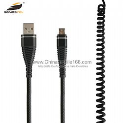 Cable de datos USB trenzado de nylon flexible y de estiramiento