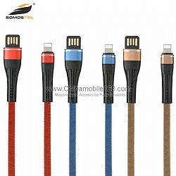 2.2A flat USB cable in cotton with double face relief tension