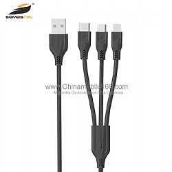 Triple-port charging & data sync USB cable 3.1A
