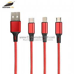 2A Cotton Braided 3 IN 1 Anti-breakage Fast Charging Data USB Cable