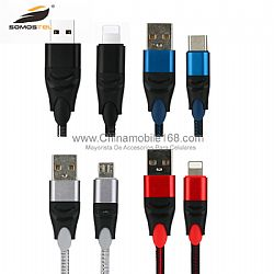 2.1A  double color nylon braided data usb cable