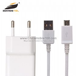 Cargador de pared de la UE del cable + USB de datos para Samsung Galaxy Note 2 II N7100 S3