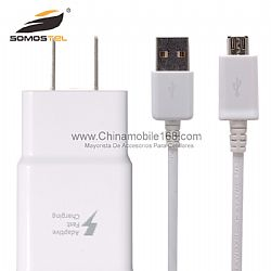 Enchufe de la UE US del cargador rápido + Cable USB para Samsung Galaxy Note 4 S6 Edge