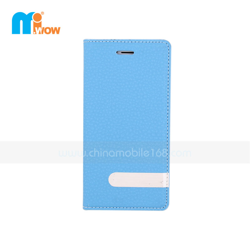 Light Blue Flip PU Leather Magnetic Case for Iphone 6