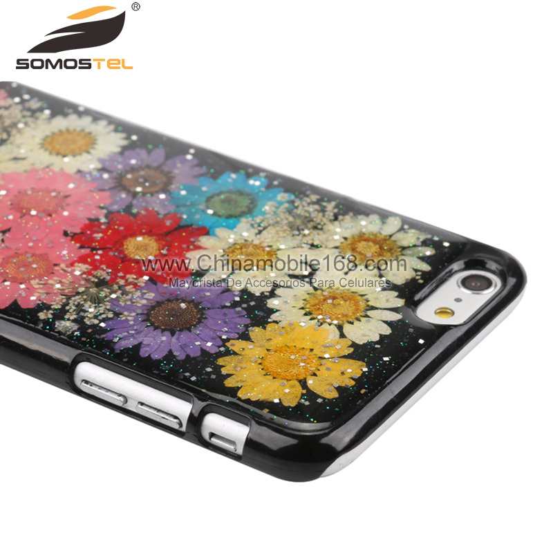 Handmade pressed colorful flowers phone case