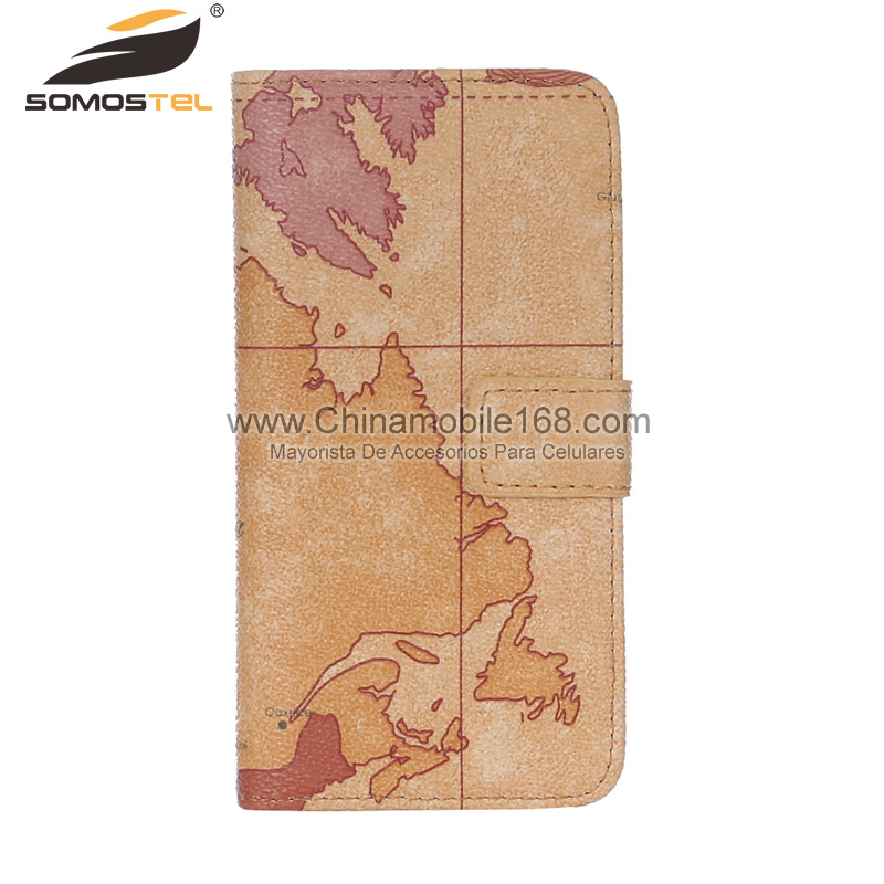 map pattern flip stand cell phone leather case
