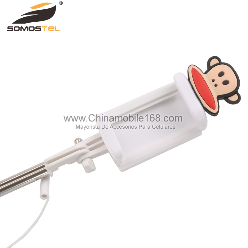 mini cartoon wire control selfie stick
